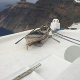 圣托里尼浪漫海岛小船希腊 免版税库存照片