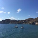圣托里尼浪漫海岛小船希腊 库存照片