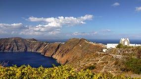 圣托里尼海岛全景 库存图片