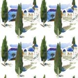 圣托里尼海岛在希腊 有蓝色半球形的屋顶和小窗口的风格化小白色背景的房子和海 免版税库存图片