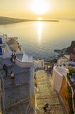 圣托里尼海岛旅行目的地和风景 库存照片