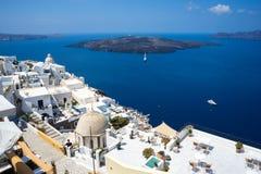 圣托里尼海岛旅馆 免版税库存图片