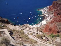 圣托里尼海岛海湾  免版税库存图片