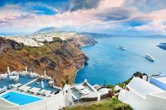 圣托里尼海岛,希腊全景  免版税库存图片