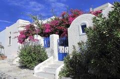 圣托里尼海岛,希腊的美丽如画的看法 库存图片