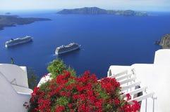 圣托里尼海岛,希腊的美丽如画的看法 库存照片