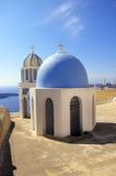 圣托里尼海岛,希腊的美丽如画的看法 免版税库存图片