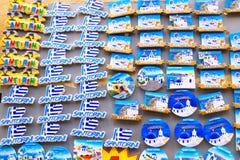 圣托里尼海岛,希腊- 2015年6月03日:纪念品店 免版税库存图片