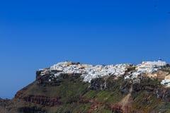 圣托里尼海岛,希腊-破火山口视图 图库摄影