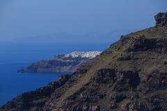 圣托里尼海岛,希腊-破火山口视图 免版税库存照片