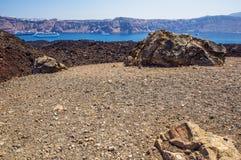 圣托里尼的火山 免版税库存照片