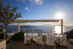 圣托里尼的,希腊餐馆 库存照片