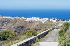 圣托里尼,希腊传统风格楼梯  免版税库存照片