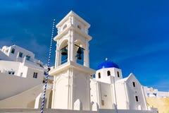 圣托里尼,希腊Imerovigli Anastasi教会  库存图片
