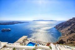 圣托里尼破火山口,海边完善的看法  免版税库存图片