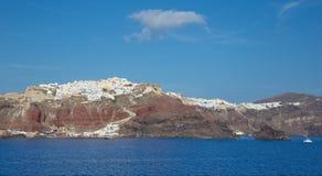 圣托里尼- calera峭壁的Oia Ia  库存图片