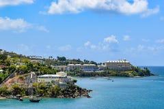 圣托马斯,美国维尔京群岛- 2014年4月01日:沿海看法在圣托马斯 库存照片