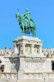 圣斯德望国王骑马雕象在布达佩斯,匈牙利 图库摄影