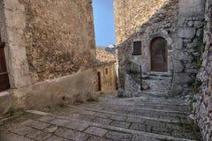 圣斯泰法诺迪塞桑约村庄,阿布鲁佐,拉奎拉 图库摄影