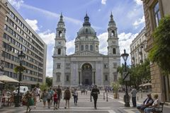 圣斯蒂芬宽容大教堂,仿照古典主义样式的一个历史建筑,虫,匈牙利 图库摄影