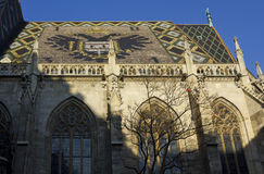 圣斯蒂芬` s大教堂马赛克屋顶在维也纳 免版税库存图片