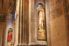 绘画圣朱利亚诺和Santo斯特凡诺在Orsanmichele教会,佛罗伦萨,意大利里 图库摄影