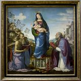 圣杰罗姆和圣徒和孩子围拢的维尔京Zenobe 免版税库存照片