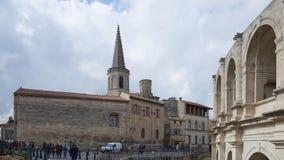 圣查尔斯和竞技场-阿尔勒-普罗旺斯- Camargue -法国 免版税库存照片