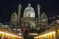 圣查尔斯圣诞节市场在维也纳 免版税库存图片