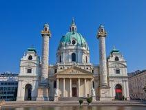 圣查尔斯教会(Karlskirche, 1737)。维也纳,奥地利 库存图片
