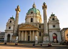 圣查尔斯的教会(Karlskirche)维也纳 图库摄影