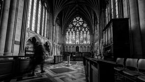 圣母堂在埃克塞特大教堂,黑白长的曝光P里 免版税库存照片
