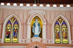 圣母无染原罪瞻礼多数美丽的教会在庄他武里 库存照片