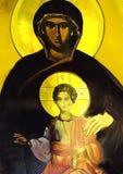 圣母玛丽亚和孩子耶稣 森林横向油画河 免版税库存图片