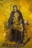 圣母玛丽亚和小耶稣 马赛克在Hagia索非亚 库存照片