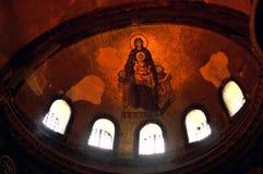 圣母玛丽亚和耶稣,圣索非亚大教堂内部壁画  免版税库存照片