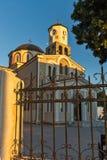圣母玛丽亚的做法的教会日落视图卡瓦拉、东部马其顿和Thra的 库存照片