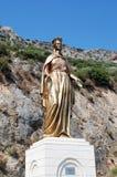圣母玛丽亚的古铜色雕象在以弗所,土耳其附近的 图库摄影