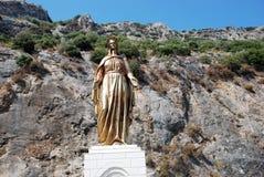 圣母玛丽亚的古铜色雕象在以弗所,土耳其附近的 免版税库存图片
