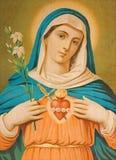 圣母玛丽亚的心脏 从结尾的典型的cahtolic打印图象的19 分 最初由未知的画家 免版税库存图片