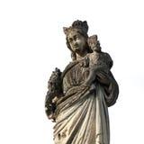 圣母玛丽亚的残破和美丽的雕象有婴孩Jes的 免版税图库摄影