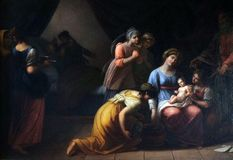 圣母玛丽亚的诞生 库存图片