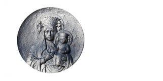 圣母玛丽亚的银色雕象有小的耶稣基督h的 图库摄影