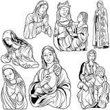 圣母玛丽亚集合 免版税图库摄影