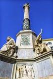 圣母玛丽亚雕象圣母无染原罪瞻礼专栏罗马意大利 免版税库存图片