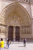 巴黎圣母院入口门廊。最后评断的门户。 免版税库存图片
