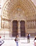 巴黎圣母院入口门廊。最后评断的门户 免版税库存照片