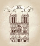 巴黎圣母院大教堂。与旅行标签的都市风景古板的背景 免版税库存图片