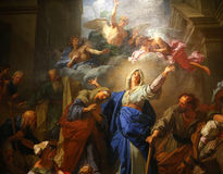 巴黎圣母院大教堂,巴黎,法国内部  图库摄影