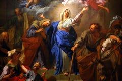 巴黎圣母院大教堂,巴黎,法国内部  免版税库存照片